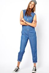 Adidas Asos Sleeveless Soft Denim Jumpsuit - Lyst