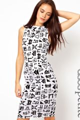 Asos Petite Exclusive Bodycon Dress in Aztec Print with Ladder Back - Lyst