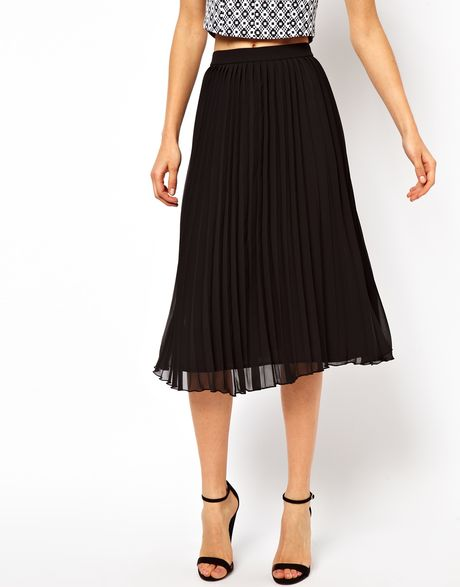asos midi skirt with pleats in yellow lyst