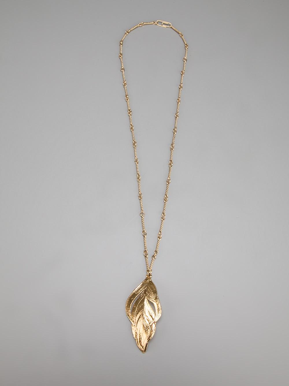 Aurelie bidermann Feather Pendant Necklace in Metallic