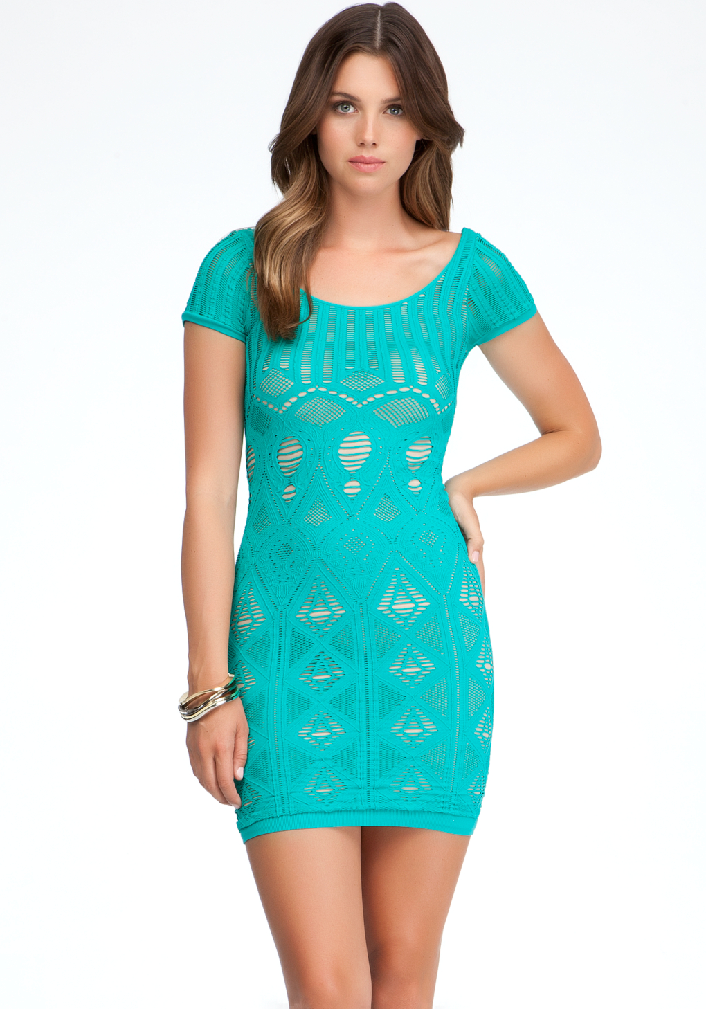 Lyst - Bebe Double Layer Shirt Lace Sleeve Dress In Green-6875