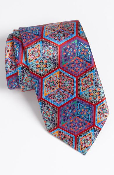 ermenegildo zegna quindici print silk tie in blue for