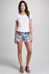 Free People Printed Denim Cutoff Shorts - Lyst
