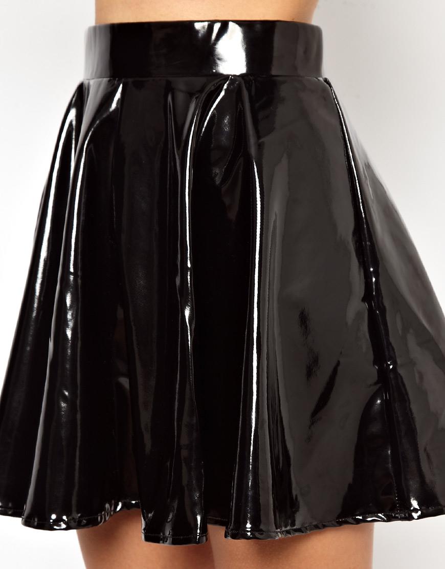 Lyst Asos Glamorous Skater Skirt In High Shine Pvc In Black