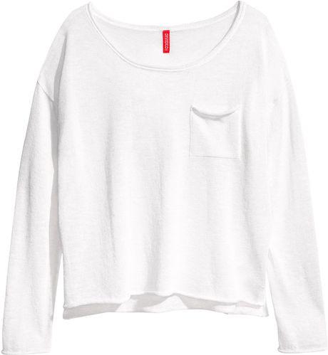 H&m Fine-knit Jumper in White