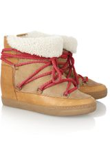 Isabel Marant Nowles Shearling lined Leather Concealed Wedge Boots - Lyst