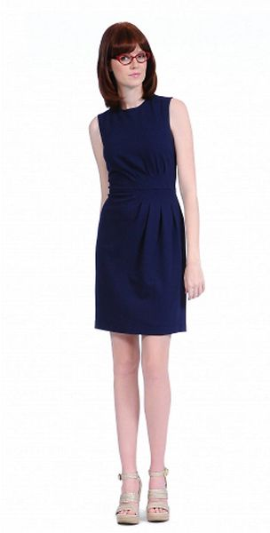 Kay Unger Pleated Crepe Sheath Dress - Lyst