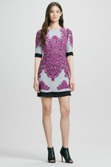Milly Blaire Combo Printed Halfsleeve Shift Dress - Lyst