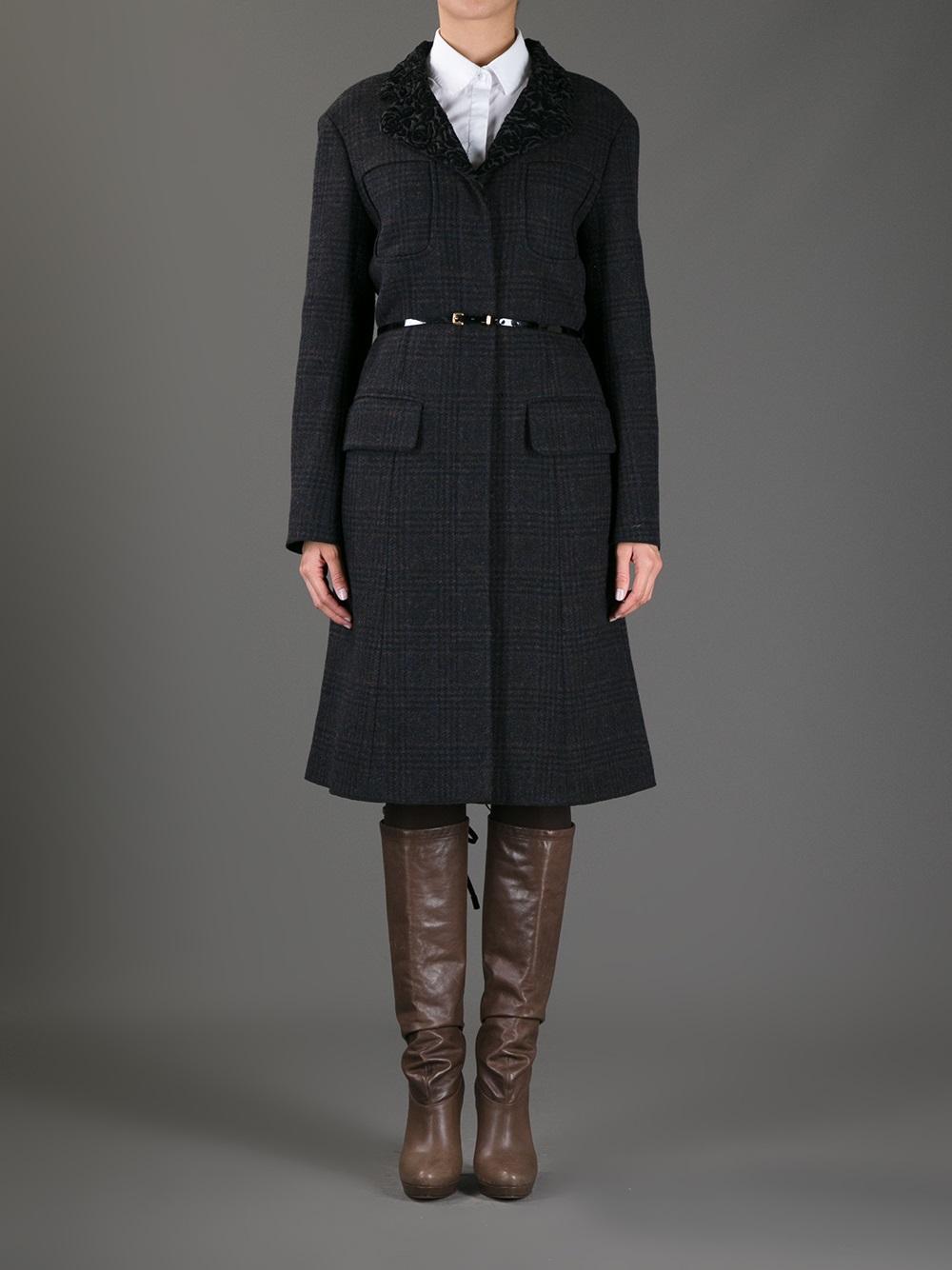 Nina ricci Tweed Belted Coat in Black | Lyst