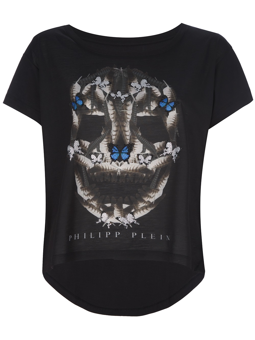 philipp plein feather skull print t shirt in black lyst. Black Bedroom Furniture Sets. Home Design Ideas