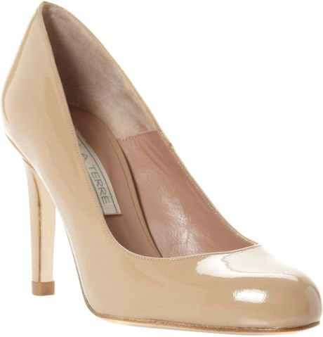 Pied A Terre Adiva Patent High Heel Court Shoes In Beige