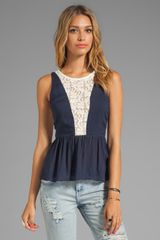 Testament Crochet Peplum Top in Navy - Lyst