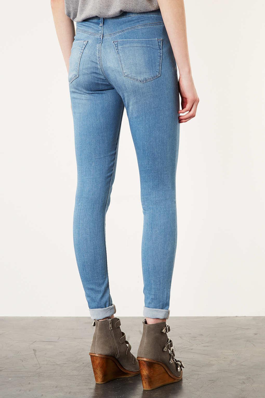 edf04a10942 TOPSHOP Moto Bleach Leigh Skinny Jeans in Blue - Lyst