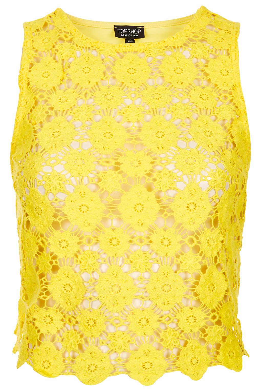 Lyst Topshop Crochet Crop Top In Yellow