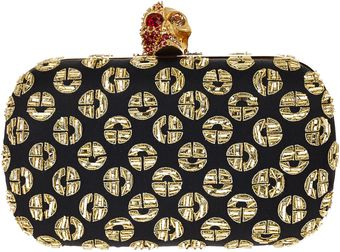 Alexander McQueen Black Embroidered Circle Clutch Bag - Lyst