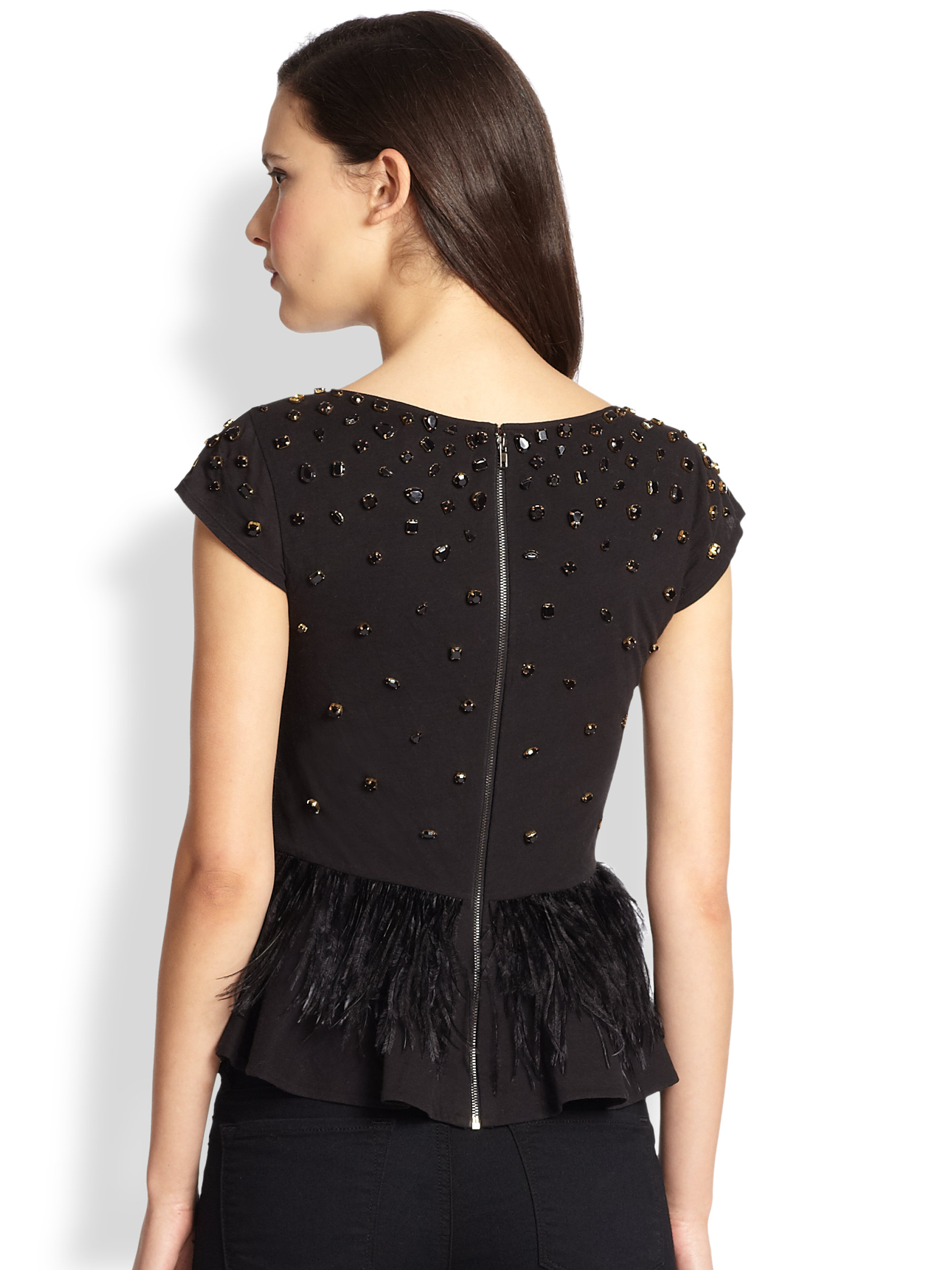 60bfb5ad452d5e Lyst - Alice + Olivia Porter Beaded Feather Peplum Top in Black