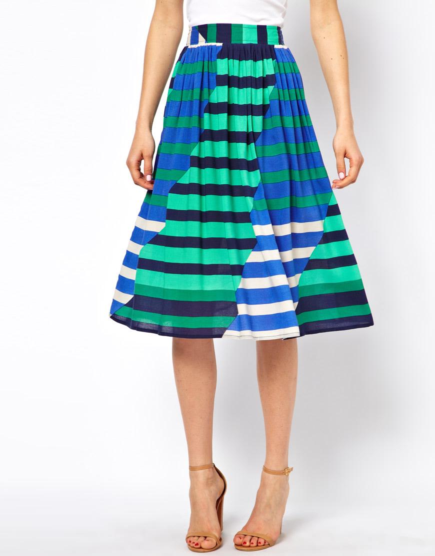 Asos Midi Skirt in Multi Coloured Stripe in Green | Lyst