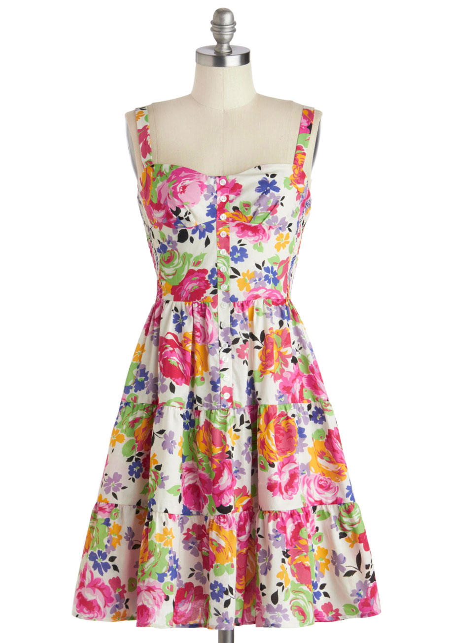 Betsey Johnson Floral Fit And Flare Sleeveless Dress Lyst