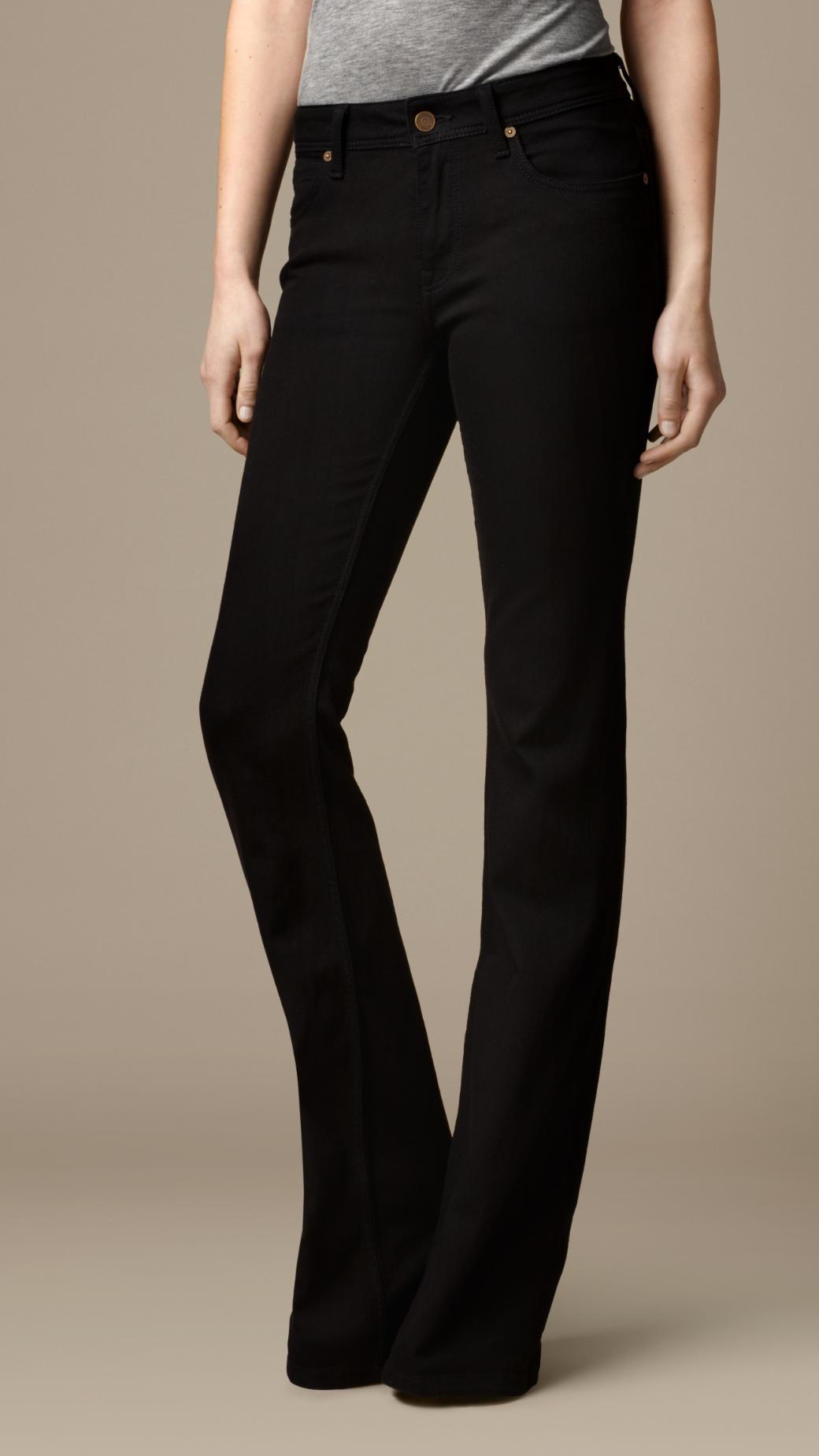 Lyst Burberry Hempton Black Rinse Bootcut Jeans In Black