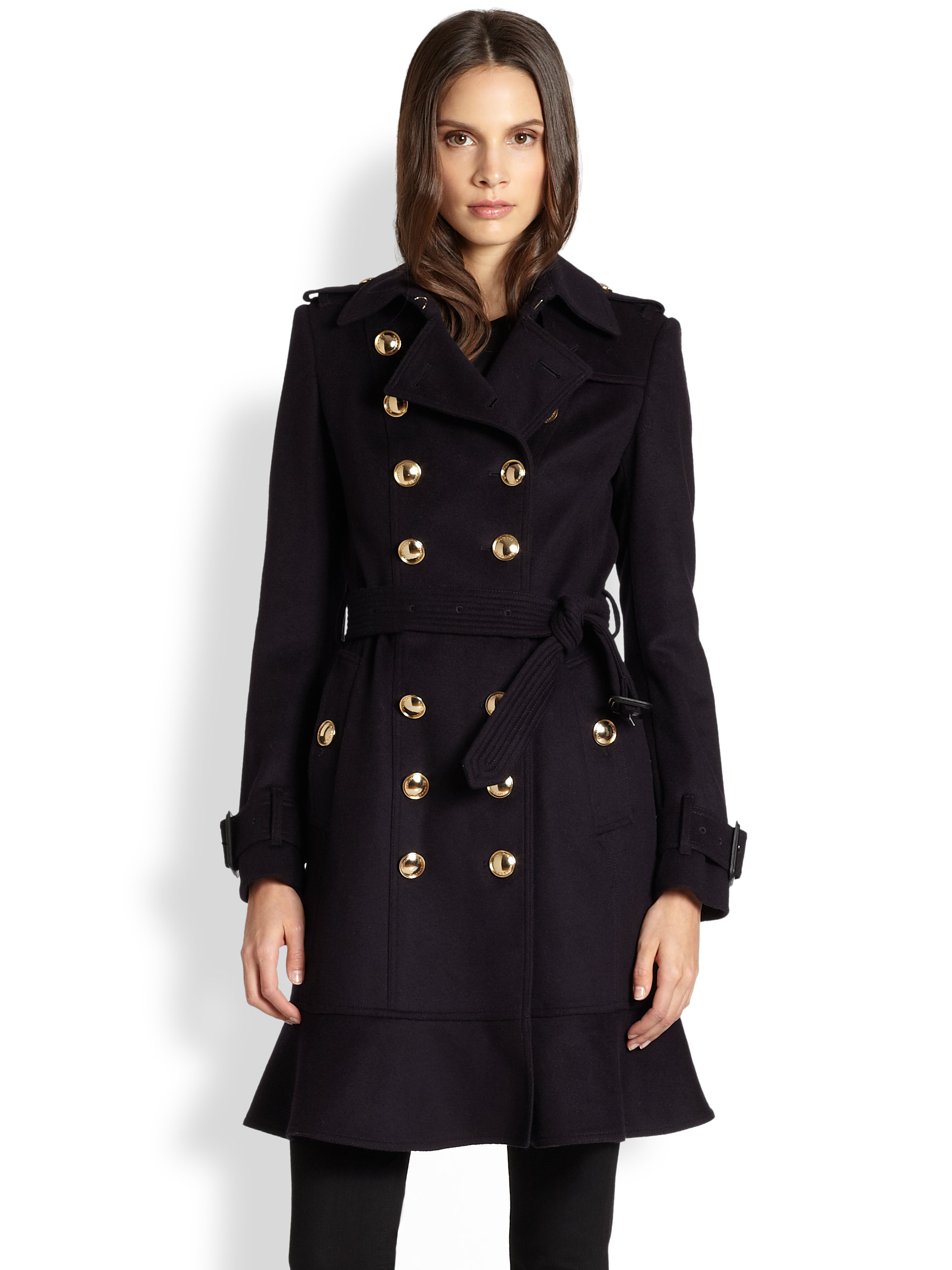 Burberry New Littleton Gold Button Trench In Blue Lyst
