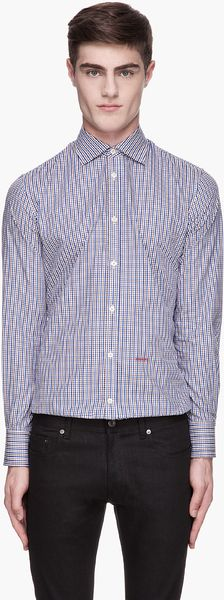 DSquared2 Blue and Brown Gingham Check Shirt - Lyst