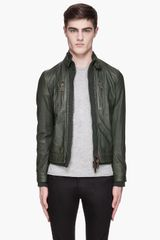 DSquared2 Green Leather and Knit Byker Bomber - Lyst