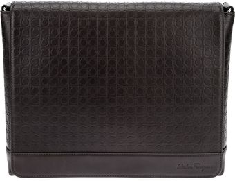 Ferragamo Logo Embossed Messenger Bag - Lyst