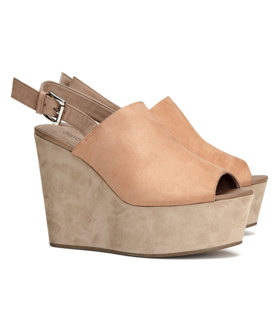 c9c432787b H&M Platform Shoes with A Wedge in Natural - Lyst