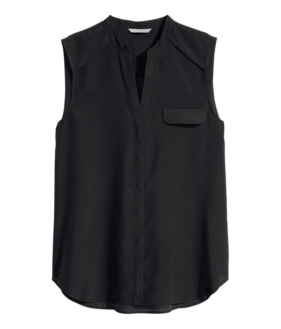 Black Sleeveless Chiffon Blouse 107