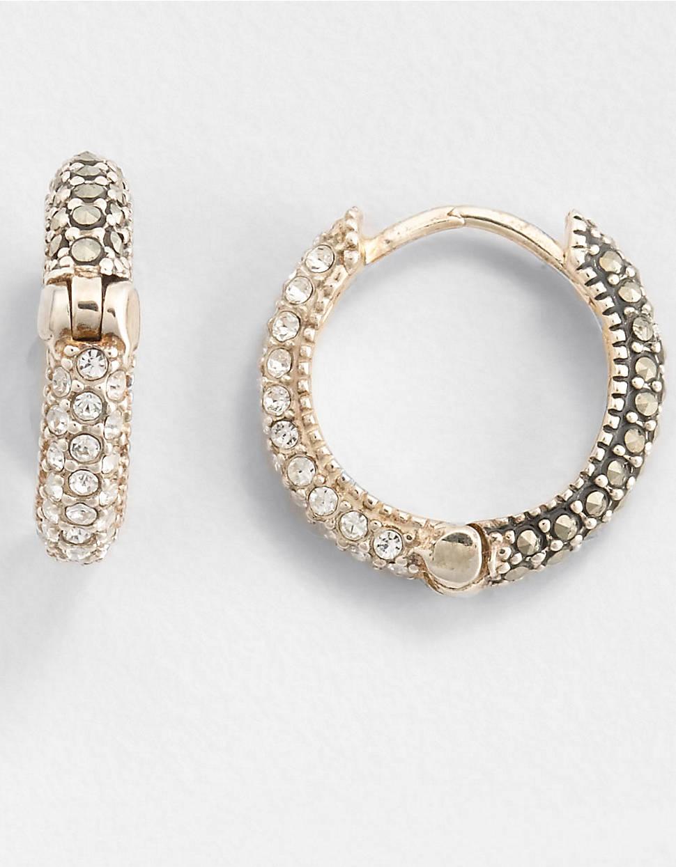 c316936e4 Judith Jack Marcasite Huggie Hoop Earrings in Metallic - Lyst