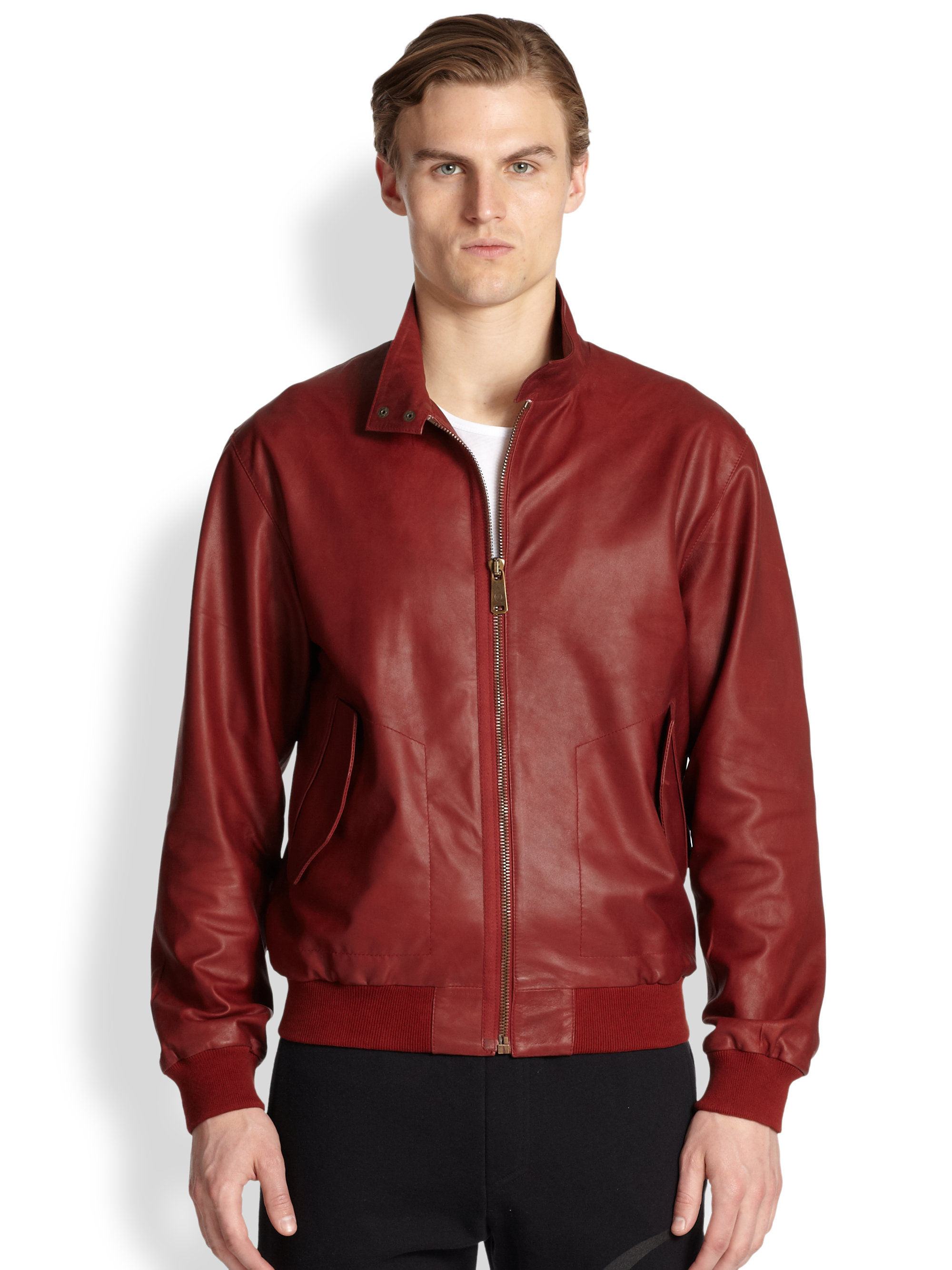 Mcq Leather Bomber Jacket in Red for Men | Lyst