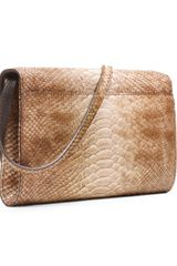 Michael Kors Gia Snakeembossed Clutch in Brown (snake) - Lyst
