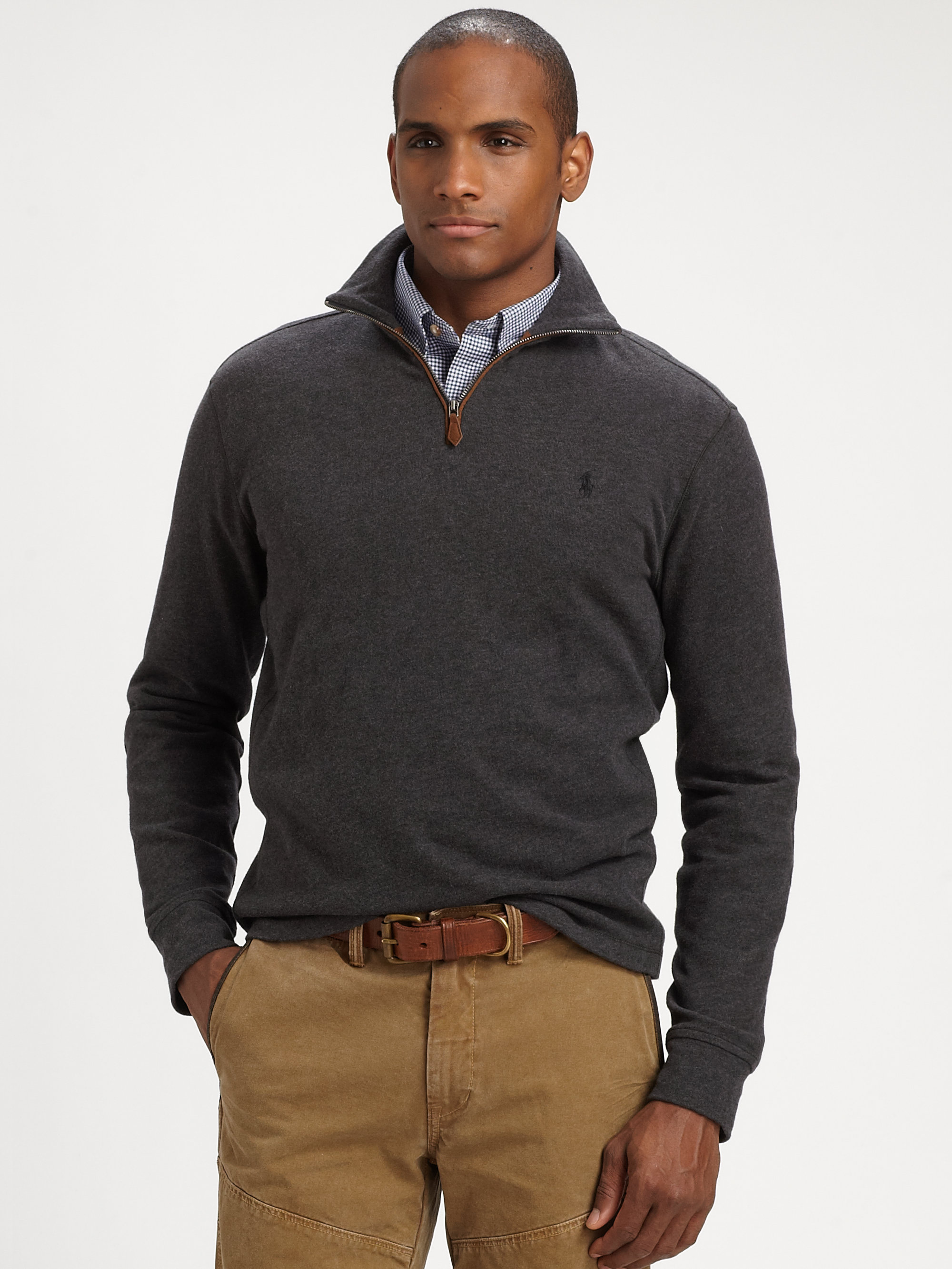 polo ralph lauren sueded jersey halfzip pullover in gray. Black Bedroom Furniture Sets. Home Design Ideas