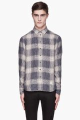 Rag & Bone Bule and Beige Check Linen Button Down - Lyst