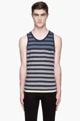 Rag & Bone Blue and Grey Colorblock Striped Tank - Lyst