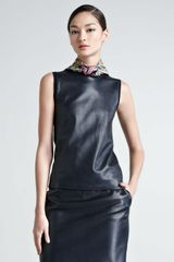 Ralph Lauren Black Label Sleeveless Leatherfront Cashmere Sweater - Lyst