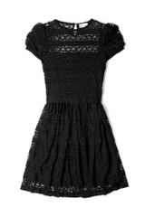 RED Valentino Black Crochet Jersey Dress with Black Trim