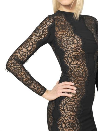 Lyst Stella Mccartney Cotton Lace Viscose Cady Long Dress In Black