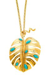 T Tahari 14 Kt Gold Plated Leaf Pendant Necklace - Lyst