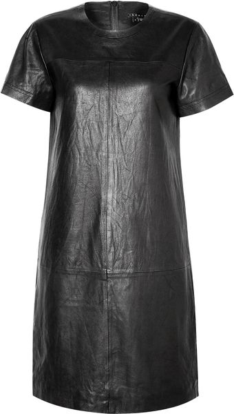 Theory Eliora L Panelled Leather Tshirt Dress - Lyst