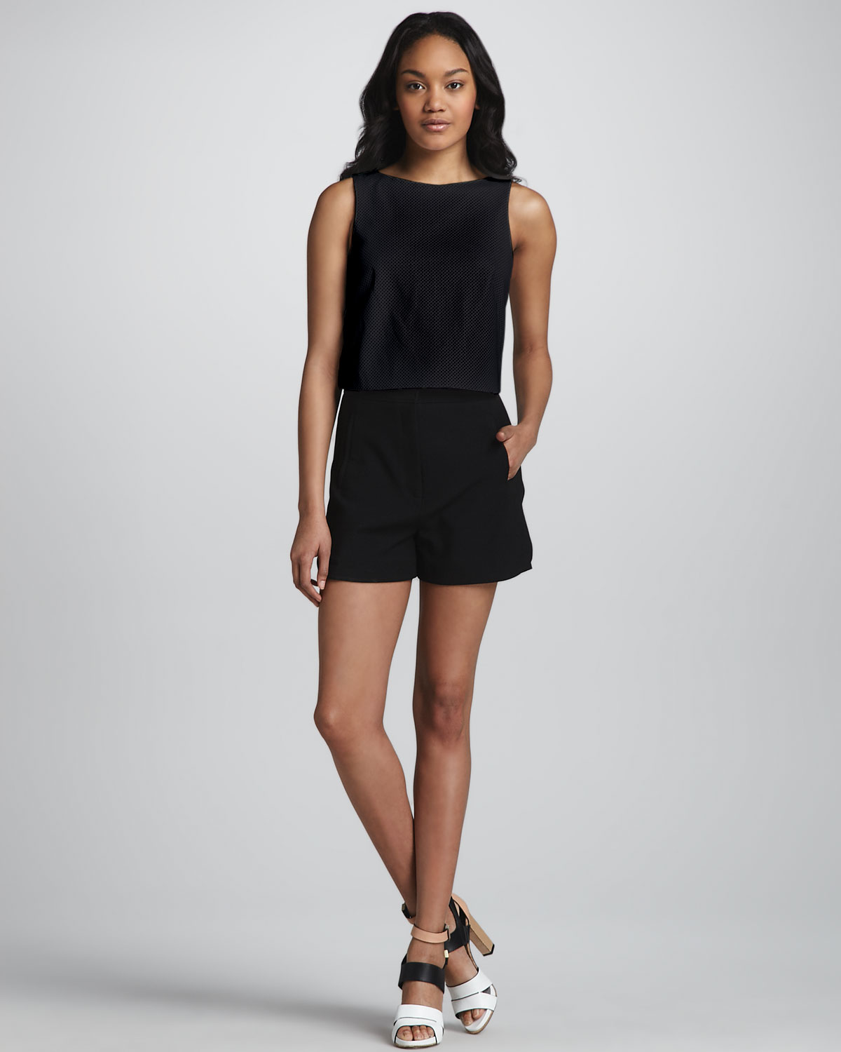 tibi highwaist stretch shorts in black lyst. Black Bedroom Furniture Sets. Home Design Ideas