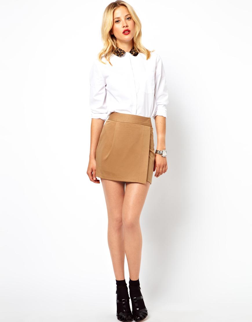 Asos Ponte Wrap Mini Skirt in Brown | Lyst