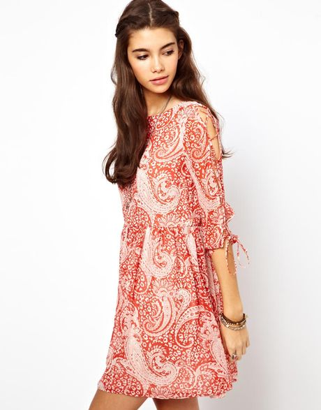 Asos Skater Dress In Paisley Print With Lace Up Sleeve In