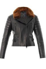 Burberry Prorsum Mink Collar Leather Jacket - Lyst