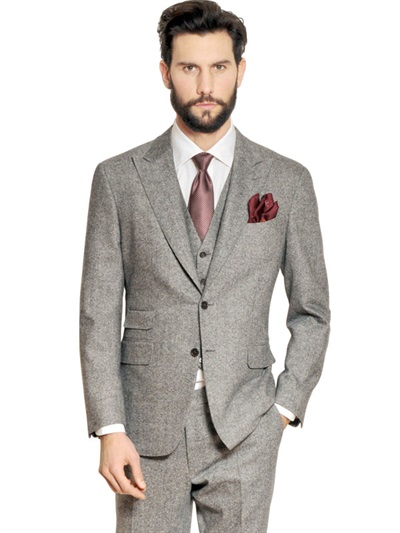 canali 3 piece wool blend stretch tweed suit in gray for. Black Bedroom Furniture Sets. Home Design Ideas