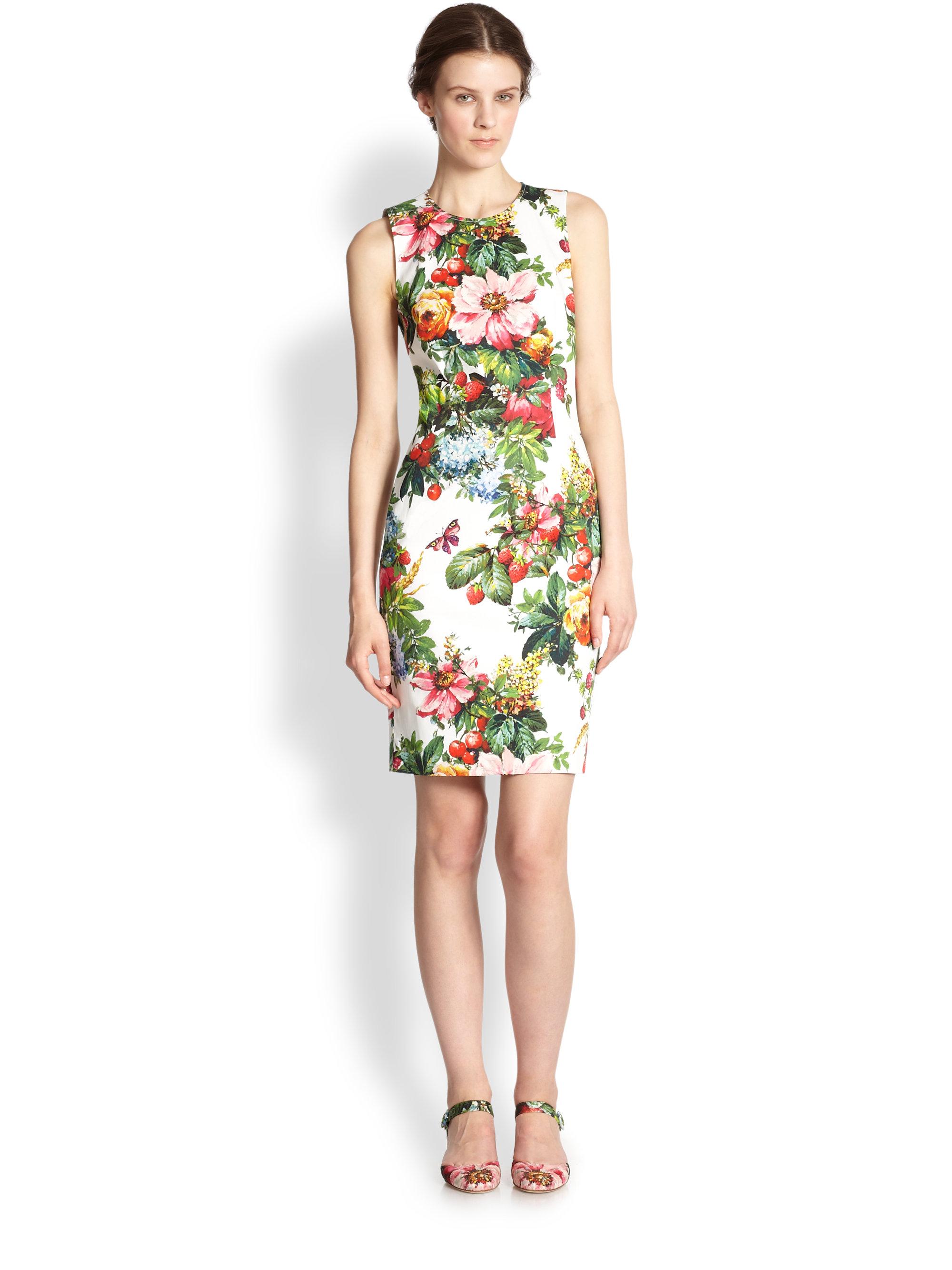 c6d1a2f86ba Dolce   Gabbana Floral print Stretch Cotton Dress - Lyst