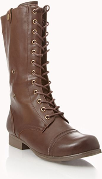 forever 21 foldover combat boots in brown lyst