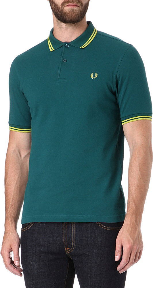 Fred perry slimfit twin tip polo shirt in teal for men for Mens teal polo shirt