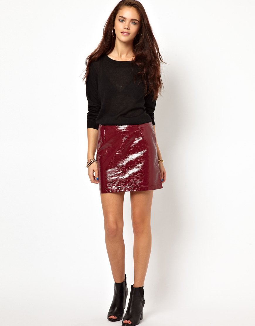 d9402a53c Asos Glamorous Pu Mini Skirt in Patent Faux Leather in Red | Lyst