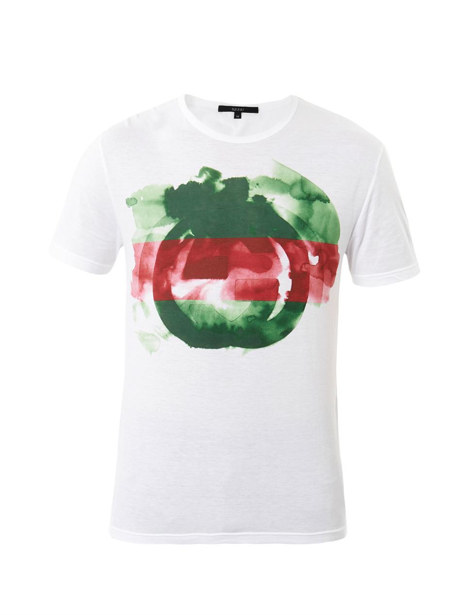 ff1f22b326ab Gucci Watercolour Logo Print T-Shirt in White for Men - Lyst